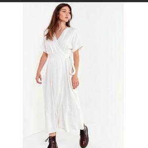 UO Gabrielle linen wrap midi dress